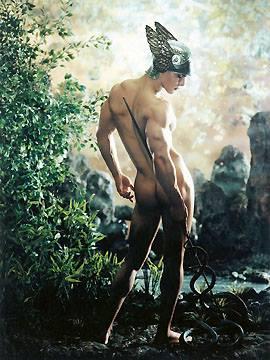 Ermes è figlio di Zeus e della Pleiade Maia, messaggero degli dei e anche dio dei ladri. Inoltre rivestiva anche il ruolo di psicopompo, cioè accompagnatore dello spirito dei morti che li aiuta a trovare la via dell'aldilà.