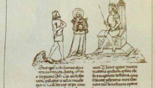 Veronica e Volusiano davanti a Tiberio. Manoscritto del Sec. XIV. Milano, Biblioteca ambrosiana (foto VeronicaRoute)