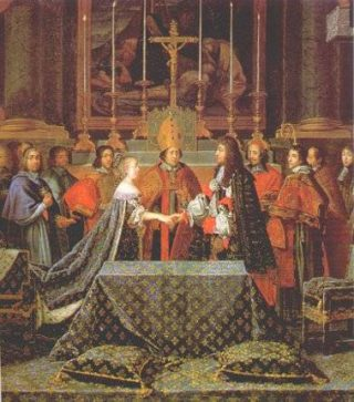 Matrimonio di Luigi XIV e Maria Teresa d'Austria (a destra è raffigurato Mazzarino)